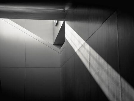 Architekturdetails Moderne Gebäudestruktur Schatten Schatten Beleuchtung Abstrakter Hintergrund Standard-Bild