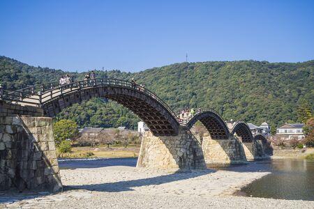 Yamaguchi, Japan - Nov 3, 2015: Kintai-Kyo Bridge cross over Nishiki River Tourist attraction Yamaguchi Prefecture Japan