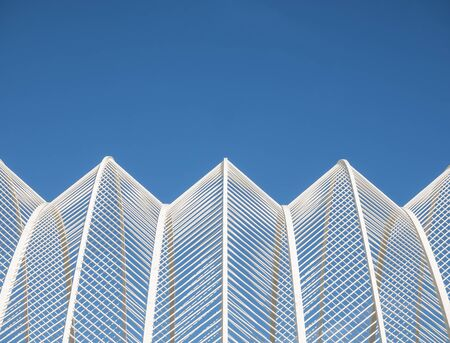 Steel pattern White line geometric form Architecture details Blue sky background