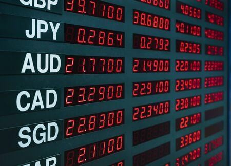 Tipo de cambio de moneda en el tablero de la pantalla digital, finanzas empresariales económicas Foto de archivo