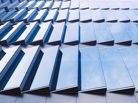 Architecture details Glass facade pattern geometric gradation Modern building background Imagens