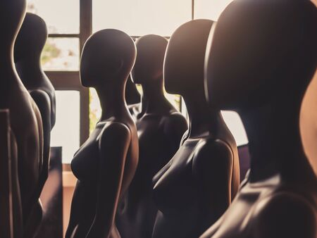 Mannequins stand in row Model pattern Fashion Industry Stock Photo