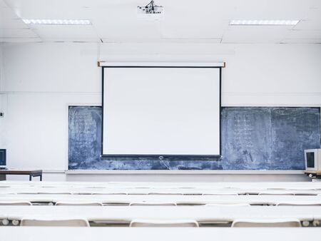 Mock up presentation Screen Seminar room interior Seat row Business training