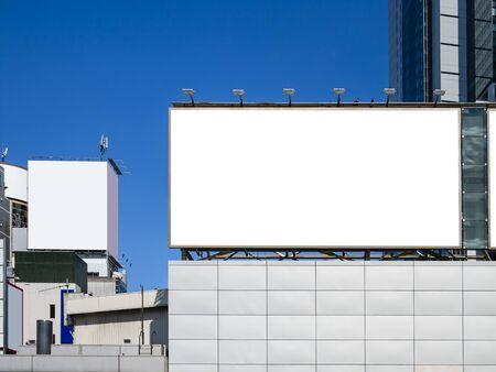 Mock up Billboard Banner Blank Media Advertising Display Outdoor Building 스톡 콘텐츠