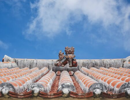 OKINAWA Lion on Ryukyu architecture Roof Art Okinawa island Japan