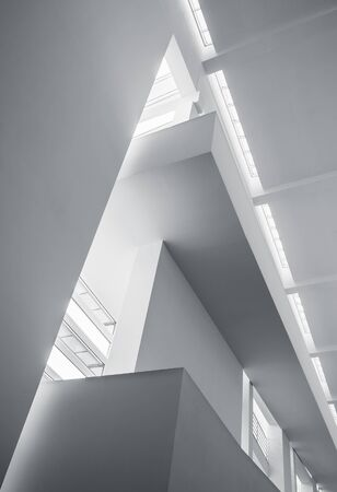 Architecture details White wall Modern building Lighting Abstract background Imagens