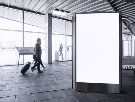 Mock up Banner light box Blank Media Advertising in Train station with People traveling Stockfoto - 134712039