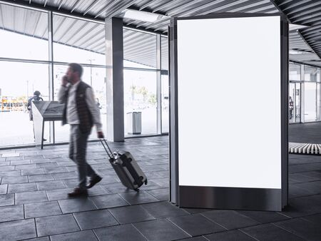 Mock up Banner light box Blank Media Advertising in Train station with People traveling