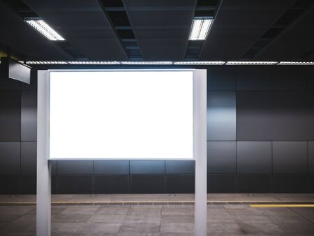 Mock up Blank Board Sign stand indoor Subway station