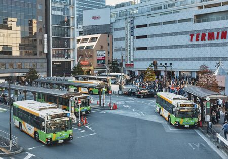 Bus terminal Bus stop Kinshicho Station with people traveling Tokyo Transportation. TOKYO, JAPAN - APR 13, 2019