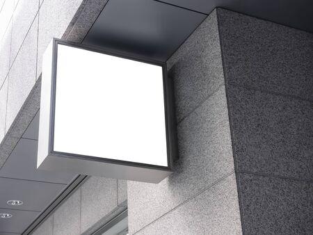 Simulacros de logotipo de la tienda, letrero, señalización en blanco, edificio exterior Foto de archivo