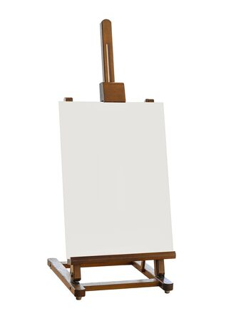 Mock up blank canvas stand wooden easel Sign stand isolated