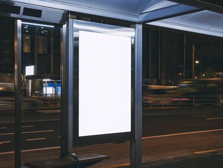 Mock up Billboard Banner template  Bus shelter Media advertising outdoor street Sign display at Night 스톡 콘텐츠