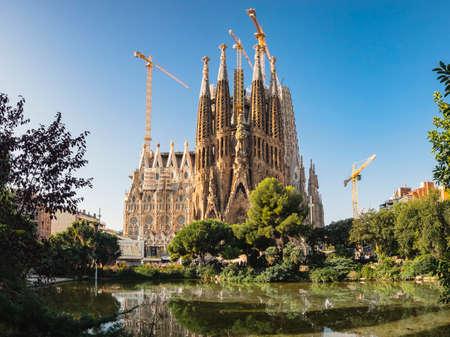 SPAIN, BARCELONA - OCT 21, 2018 : La Sagrada Familia. Cathedral designed by architect Antoni Gaudi and is being build since 1882 Barcelona landmark World heritage site