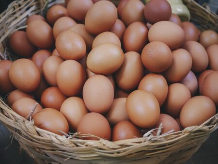 Eggs in basket fresh eggs farm product Organic eggs