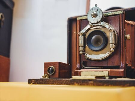 Antique camera large format Film camera wooden frame. Photographer collection 스톡 콘텐츠