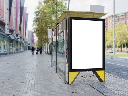 Mock up Banner Signboard stand Media outdoor with people walking Europe City street Building Stock Photo