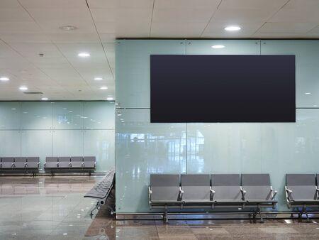 Mock up Banner digital screen display indoor waiting room Public building Airport gate