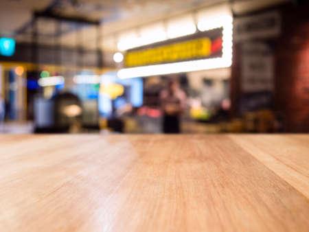 Table top counter blur Bar cafe restaurant interior background Standard-Bild