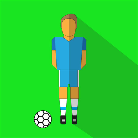 color match: Football player icon. Flat iconof soccer player isolated on green background with ball Illustration