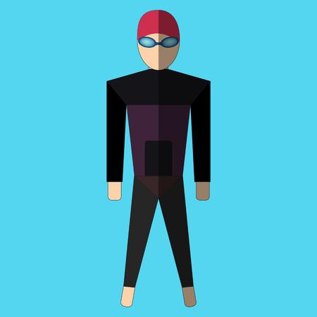 swim suit: Swimmer in swim suit on blue background. Illustration