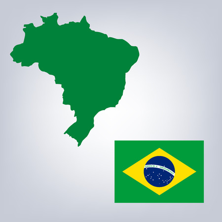 brazilian flag: colorful isolated brazil map silhouette with national brazilian flag Illustration