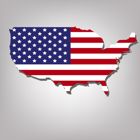 canton: USA Map Flag isolated on grey background with shadow Illustration