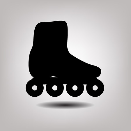 cut the competition: Roller skate web icon. Black isolated  silhouette Illustration