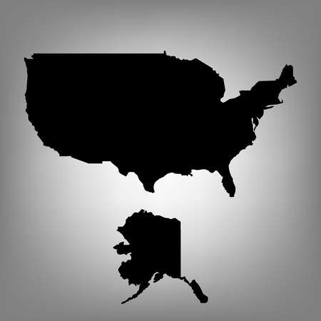 humanism: USA map black silhouette on grey background