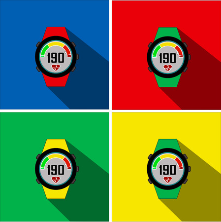 stopwatch flat icons. Four colors background. blue red green yellow