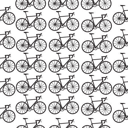 velocipede: Seamless bicycles pattern. Black icons on white background. Sport print Illustration