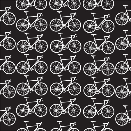 velocipede: Seamless bicycles pattern. White icons on black background. Sport print