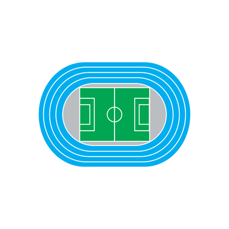 Estadio con pista de atletismo azul. icono del vector aislado en el fondo blanco.