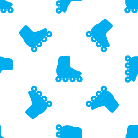 blue silhouettes: Roller skates seamless pattern. Blue silhouettes on white background