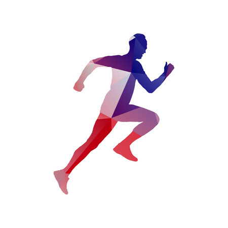 group fitness: Bright colorful jogger silhouette. Isolated runner icon on white background