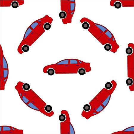 Seamless red cars pattern on white background
