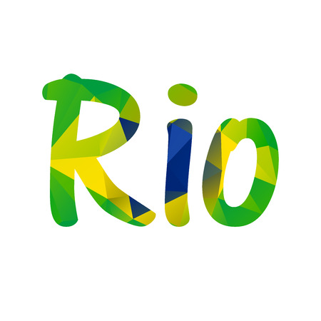beach closed: Low polygonal text Rio in colors of the Brazilian flag with clipping mask isolated on white background Illustration