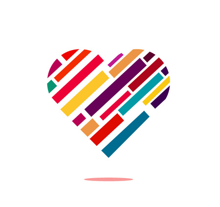 Simple web icon , heart illustration with parallel diagonal colorful Lines texture isolated on white background