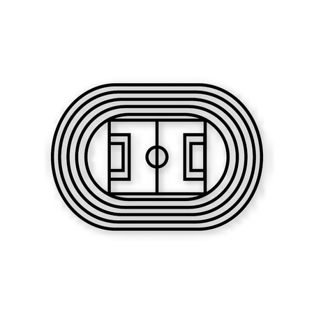 running track: Stadium with running track black vector icon isolated on white background Illustration