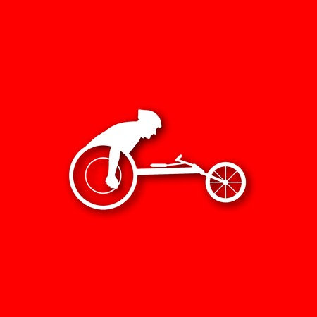 athlete wheelchair white Icon isolated on red background