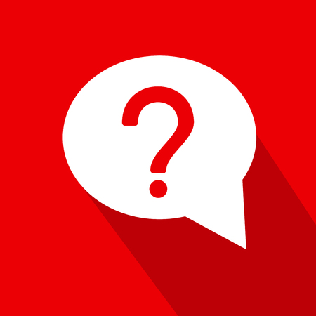 White dialog icon with Question mark on red background flat style