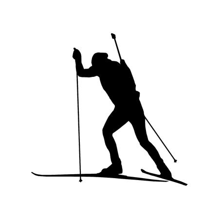 marksmanship: Black silhouette of biathlon racer
