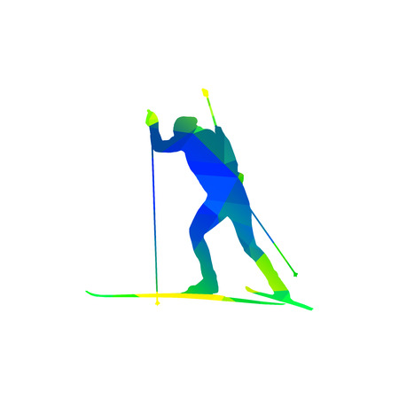 Colorful silhouette of biathlon racer Illustration