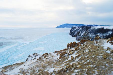 Shores of Lake Baikal in winter. Cape Khoboy
