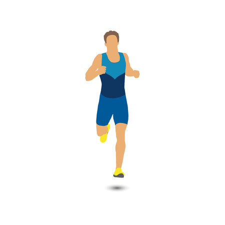 Bright colorful runner silhouette