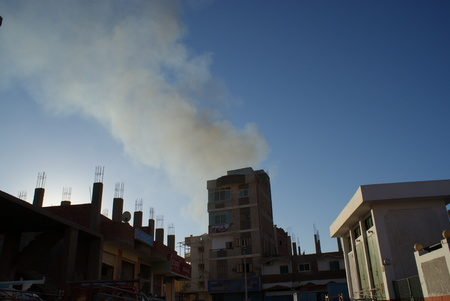 old building in egypt city Hurghada burning Foto de archivo