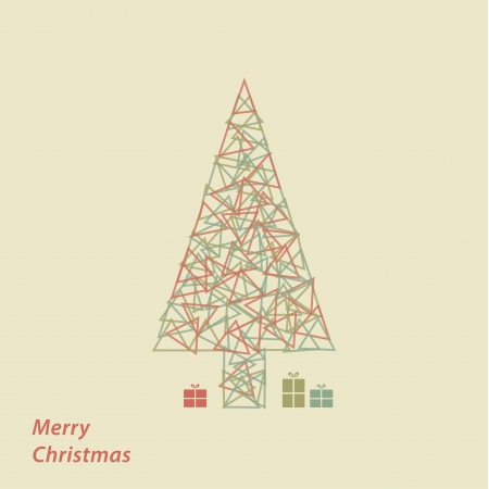 greating card: Vector triangle Christmas tree  Modern Christmas greating card  Clean geometric shapes