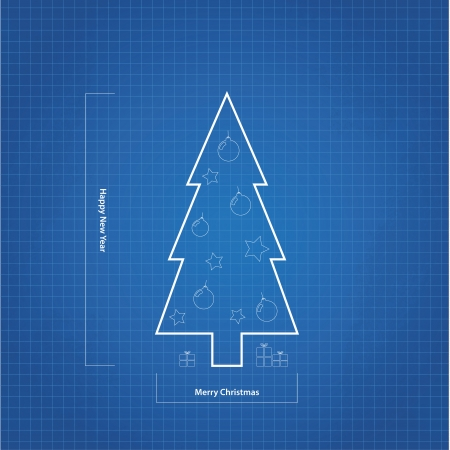 greating card: Vector blueprint Christmas tree. Original christmas greating card.