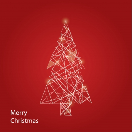 Vector outline Christmas tree. Futuristic Christmas background with place for your content. Christmas decoration. Vector