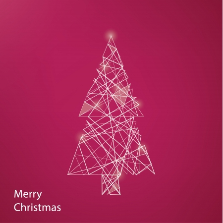 conection: Vector outline Christmas tree. Modern Christmas background with place for your content. Christmas decoration. Minimalistic Christmas motive.
